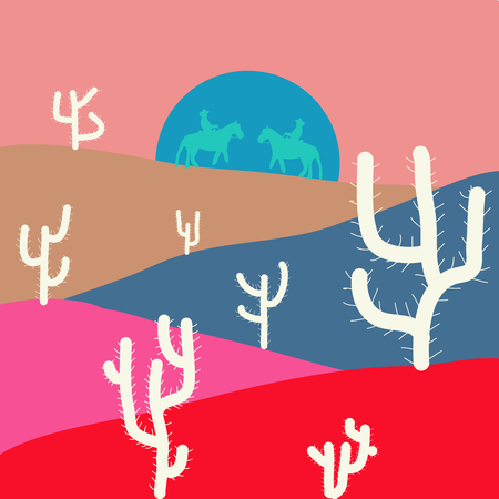 Illustration on pink, blue and red colors. Vector illustration. Beautiful sand dunes in the Sahara desert.  イラスト・ベクター素材