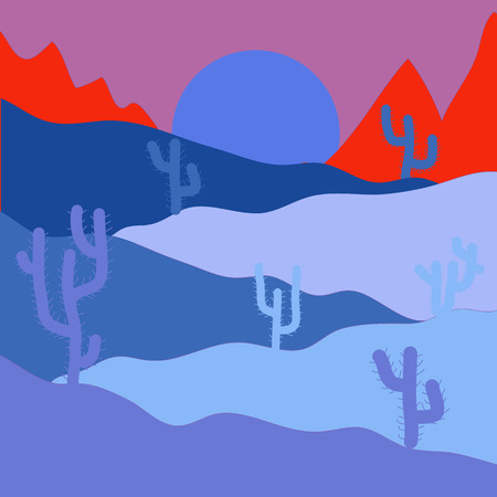 Desert Landscape with Cactus and Mountains in the Background. Vector illustration. Flat Design Style. Illustration on blue, pink and red colors.