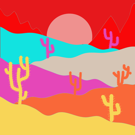Vector illustration. Exploring Africa. Extreme tourism and traveling. Birds. Horizon line with sky. Desert trip. Design on red, yellow and pink colors. Back to nature. Mountains. Sands.