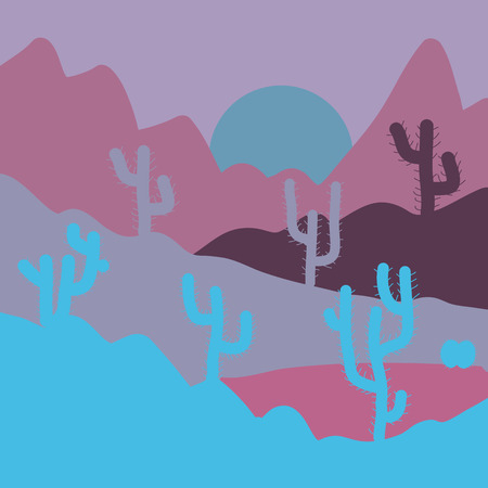 Sunset on a background of a mountain landscape. Vector game graphic. Background of landscape with desert and cactus on neutral, blue and purple colors. Illustration
