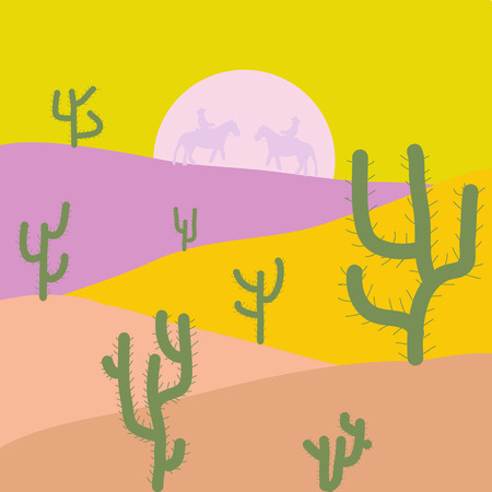 Flat Design Style. Desert Landscape with Cactus and Mountains in the Background. Illustration on yellow, beige and neutral colors. Vector illustration.