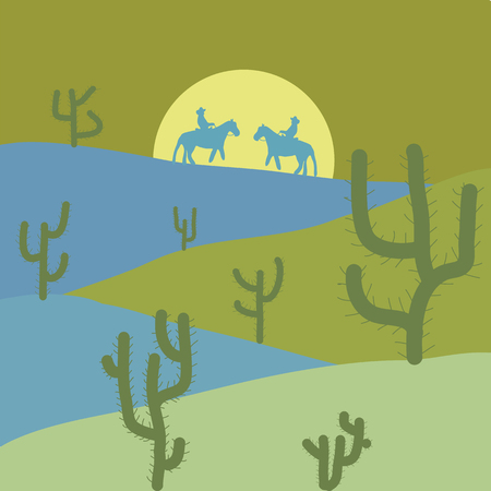 Cactuse and mountains in desert landscape, sunset in cannon, Background scene with stones and sand. Flat cartoon on yellow, green and blue colors. Vector illustration.