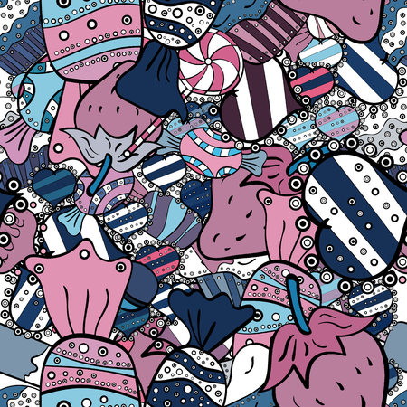 Cute cartoon colorful seamless vector pattern with candies and cotton candy. Candies on blue, black and white colors. Vector.