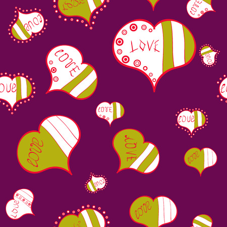 Graphic on purple, white and yellow colors. Seamless pattern love pattern with nice lettering calligraphy text and hearts, doodles. Vector. Art for web, print. Hand drawn illustration in cartoon style