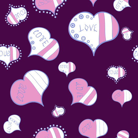 Pattern for wrapping, cover. Sketch Valentine. Vector. Typography lettering poster. Wedding Romantic Love Graphics. Elements on purple, white and pink colors. Seamless Hand Drawn Doodles.