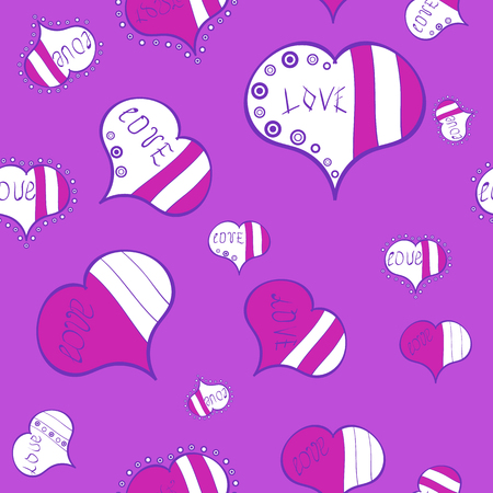 Vector. Art for background texture. Seamless love pattern with cute lettering calligraphy text and hearts, envelopes, doodles. Hand drawn illustration in cartoon style on violet, white, magenta colors