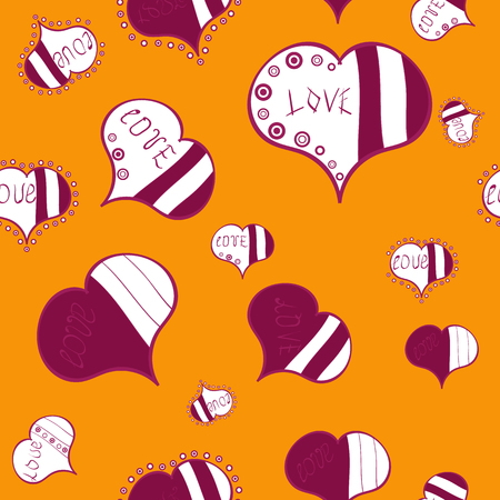 Unusual designs. Cute hearts love on yellow, purple and white colors on nice background. Valentines day seamless background. Vector illustration. Illustration