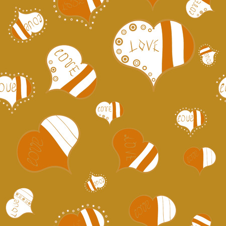 Valentine:s Day card seamless background pattern heart. Vector illustration. Cute yellow, white and orange colors elements. Repeating texture. Seamless hearts pattern. Ilustração