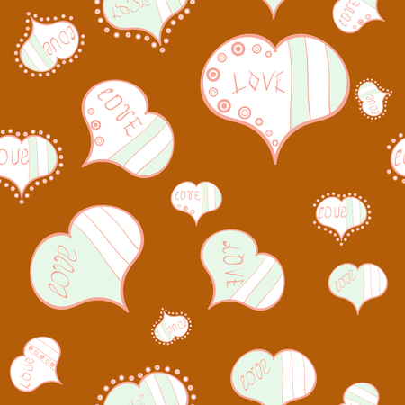 Endless background with hand drawn figures on orange, white and neutral colors. Vector illustration. Seamless raster love pattern with hearts. Pattern for wrapping, cover, background, surface print.