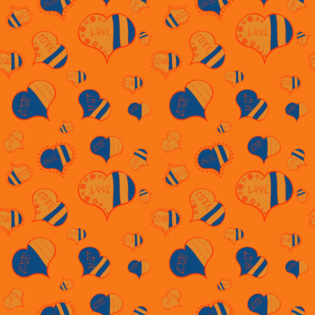 Art for background texture.Vector. Seamless love pattern with cute lettering calligraphy text and hearts, envelopes, doodles. Hand drawn illustration in cartoon style on orange, blue and brown colors.