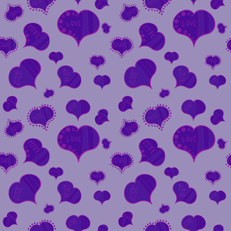 Vector illustration. Valentines day hearts. Neutral, violet and purple. Texture background texture.