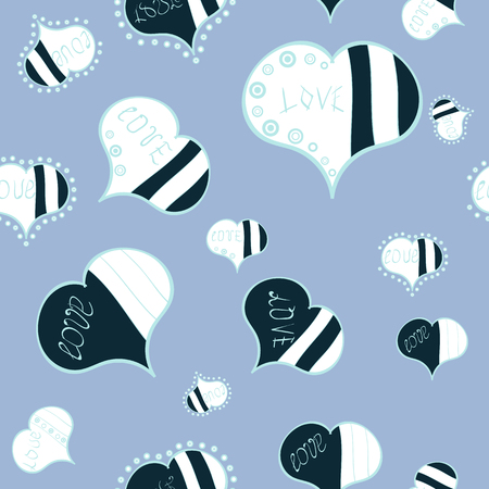 Seamless pattern Beautiful handdrawn seamless with hearts. Vector. Festive love background. Happy Valentine:s Day. Blue, white. Perfect design element for wallpaper, textile, wedding invitation.