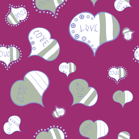 Seamless Valentine':s with purple, white and gray elements. Heart pattern. Vector illustration.