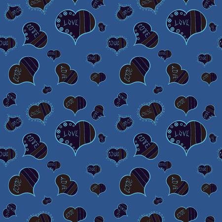 Vector pattern for your creativity. Seamless festive texture with doodle hearts and love inscription. Elements blue, gray and brown colors on background.