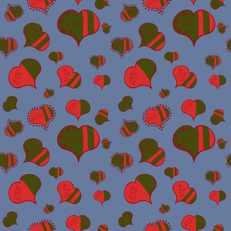 Seamless love pattern with hearts. Cartoon hearts on blue, green and orange colors on cute background. Love card. Our love is magic. Vector illustration.