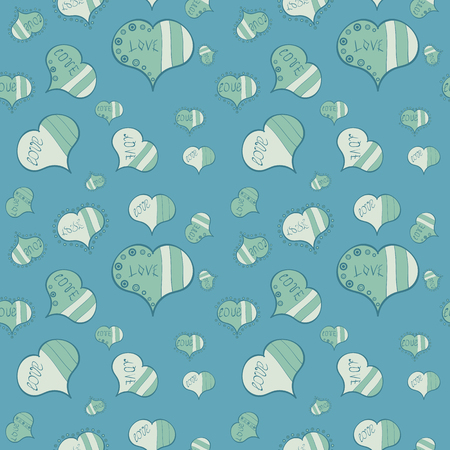 Hand drawn illustration, isolated. Love symbol, beautiful, lovely, romantic, holiday decoration. Vector sketch. Blue, neutral and gray colours, polka dots, striped. Watercolor hearts seamless pattern.