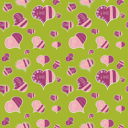 Summer style illustration with cute elements. Love and happy designs. Seamless colorful boho pop art style. Ideal for greeting card, label, tag, etc. Vector. Nice hearts love on green, pink colors. Иллюстрация