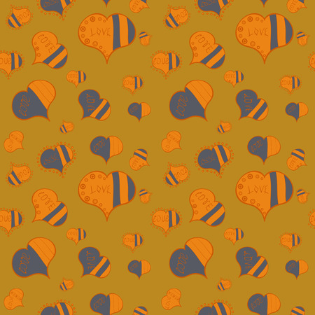 Graphic hearts love on yellow, orange and gray colors. Seamless love pattern with cute lettering calligraphy text and hearts, envelopes, doodles. Hand drawn illustration in cartoon style. Vector.