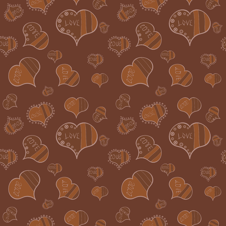 Valentines Day. Seamless Hearts pattern. Pattern for wrapping, cover. Typography lettering poster. Vector illustration. Elements on brown, neutral and beige colors.