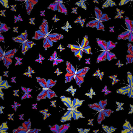 Vector illustration. Collection of colorful butterflies, flying in different directions. Abstract seamless pattern for girls, boys, clothes, wallpaper.