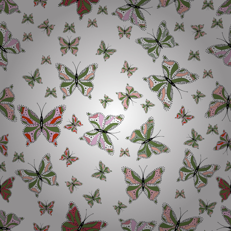 Perfect for web page backgrounds, wallpapers, textile, surface textures. Of watercolor butterflies on white, green and neutral background. Seamless pattern. Vector illustration. Vector.