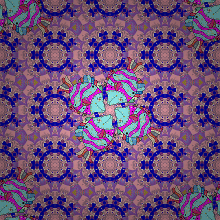 Modern floral background. The elegant the template for fashion prints. Folk style. Amazing seamless floral pattern with bright colorful flowers and leaves on a neutral, blue and violet colors. Ilustração
