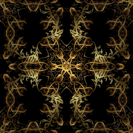 Gold floral ornament in baroque style. Golden element on black colors. Gold Wallpaper on texture background. Damask seamless repeating background.