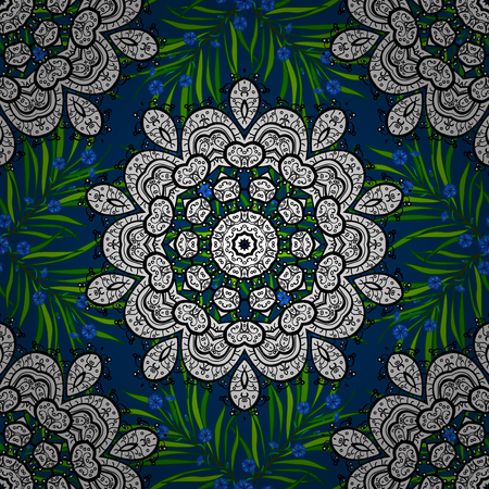 Ornamental doodle white, blue and black colors. Vector nature seamless pattern with abstract ornament. Vector round mandala in childish style.
