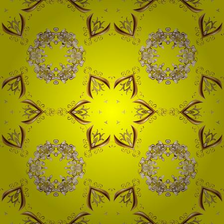 Navidad 2019, copo de nieve, año nuevo. Vintage de patrones sin fisuras en colores amarillo, marrón y beige con elementos dorados.