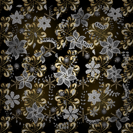 Vector black, gray and brown leafy background with hand drawn leaves, flowers, swirls, intricate beautiful ornaments. Retro rich design for wallpapers. Foliage vintage nice ornamental pattern. Ilustração