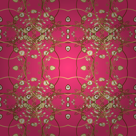 Vector - stock. Modern stylish texture. Seamless Gentle, spring on pink, brown and yellow colors.