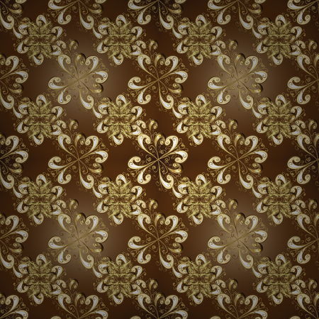 Vector golden pattern. Seamless textured curls. Oriental style arabesques golden pattern on a brown, beige and yellow colors with golden elements.