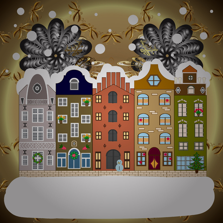 Evening city winter landscape with snow cove white, brown and neutral houses and christmas tree. Holidays Vector illustration.
