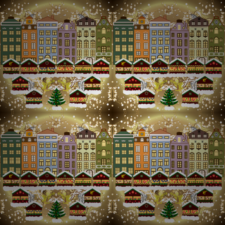 Evening city winter landscape with snow cove beige, brown and neutral houses and christmas tree. Holidays Vector illustration. Ilustração