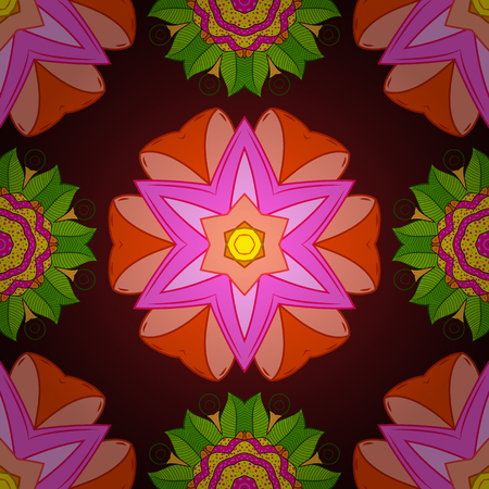 Seamless pattern with bright flowering carpet of plants on a brown, pink and orange colors.