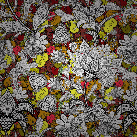 Vector illustration. Cute Floral pattern in the small flower. Flowers on white, black, yellow, gray and red colors.