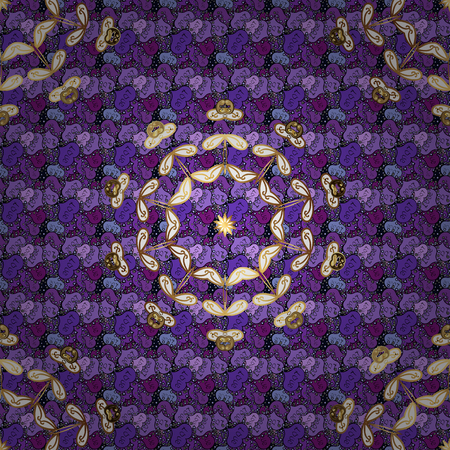 Seamless pattern with abstract ornament. Vector Hand drawn  floral violet, black and purple colors. 일러스트