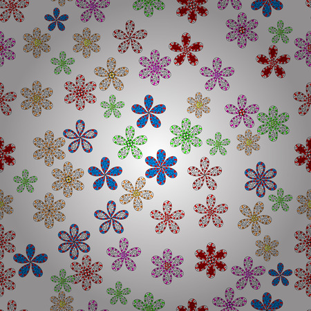 Pretty vintage feedsack pattern in small white, black, red, gray and blue, flowers. Millefleurs. Floral sweet seamless background for textile, fabric, covers, wallpapers, print, wrap, scrapbooking.
