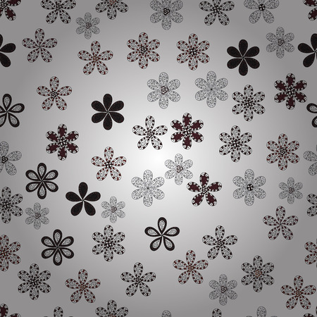 Flowers on white, gray and brown colors. Seamless Floral Pattern in Vector illustration.