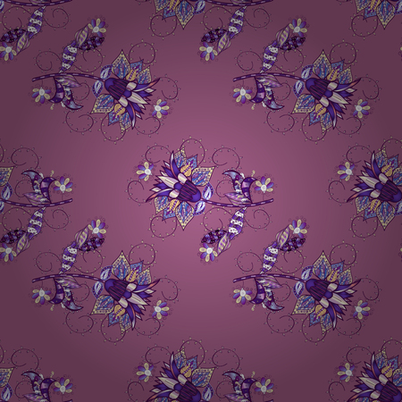 On violet, purple and neutral colors. Seamless pattern in vintage style with bouquets of flowers. Vector illustration.