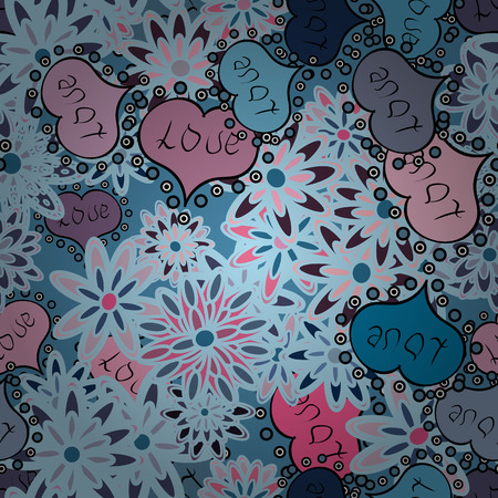 Seamless pattern with Ethnic Hearts, in retro 80s style for fabric print, paper print and website backdrop. Valentines Day. Neutral, blue and black Vector illustration.
