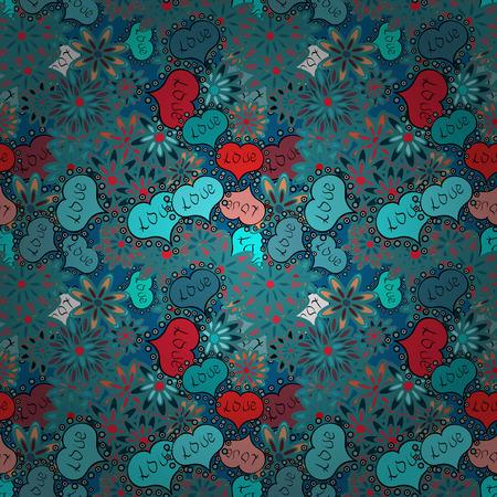 Hand gezeichnete Illustration, isoliert. Blaue, rote und schwarze Farben, Tupfen, gestreift. Vektorskizze. Nahtloses Muster der Aquarellherzen. Liebessymbol, schön, lieblich, romantisch, Feiertagsdekoration. Vektorgrafik