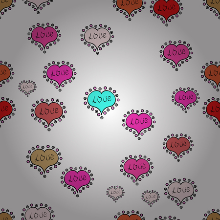 Cute white, black and pink colors elements. Vector illustration. Seamless Happy Valentine':s Day card seamless background pattern heart.