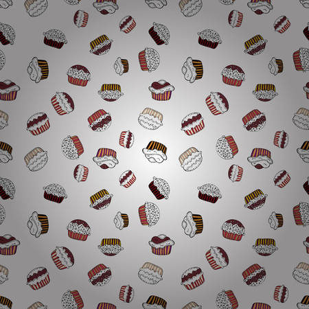Wrapping paper. For food poster design on white, neutral and black. Seamless with cupcakes. Vector illustration.