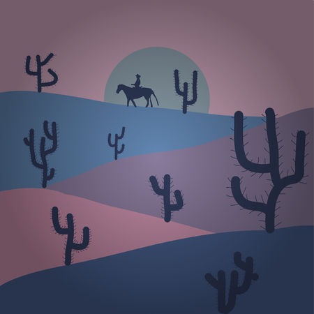Illustration on neutral, blue and violet colors. Vector illustration. Beautiful sand dunes in the Sahara desert.