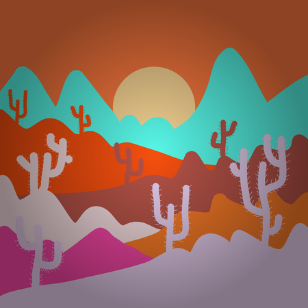 Stylish orange, neutral and blue colors. Sands with cactus. Wild cactus on deserts. Vector illustration.