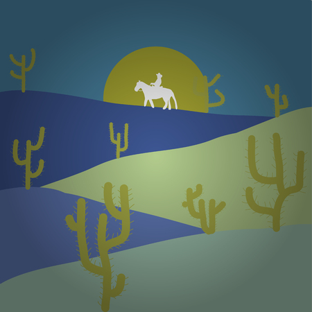 Vector. Composition. Illustration on blue, neutral and violet colors. Scene for your design. Soft nature landscape with sky, desert, mountains. In simple minimalistic flat style.