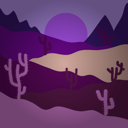 Mountains. Horizon line with sky. Design on violet, purple and neutral colors. Sands. Birds. Vector illustration. Extreme tourism and traveling. Back to nature. Desert trip. Exploring Africa.