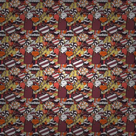 Vecteur. Modèle vectoriel continu coloré de dessin animé mignon avec des bonbons et de la barbe à papa. Bonbons sur les couleurs blanc, noir et orange.