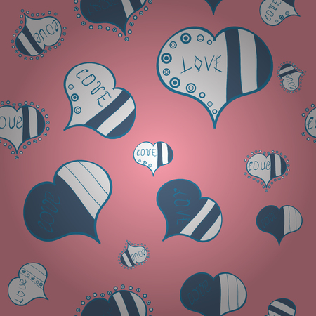 Pink, blue and white Vector illustration. Seamless Love fabric pattern for background.